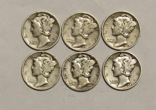 1940 S through 1945 S Mercury Dimes