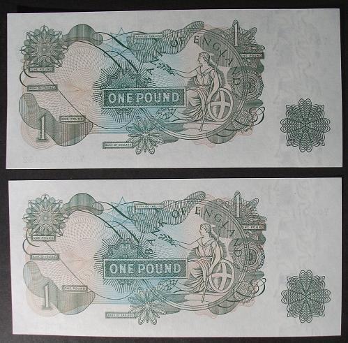 Great Britain P374g Pound UNC62 + UNC64 Consecutive Pair