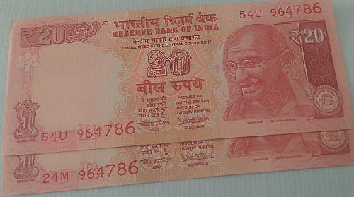 964786 X 2..India UNC notes..