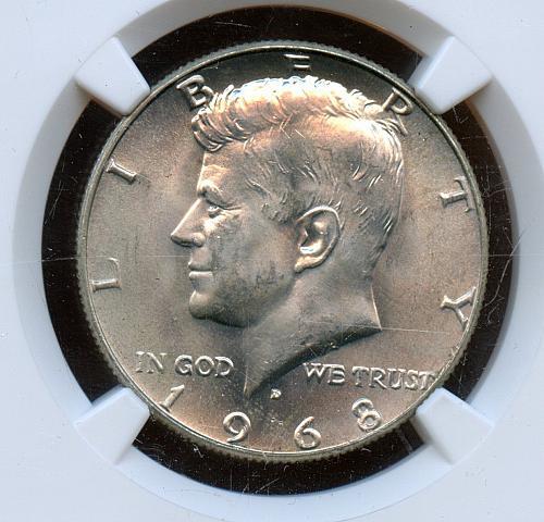 1968-D 50C MS65 NGC Kennedy Silver Half Dollar (9071)