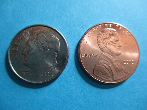 2018 Dime + 2018 1 Cent   ( 2coins)