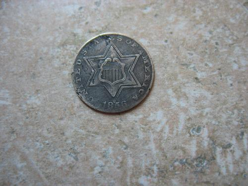 1856 P Silver Three Cent