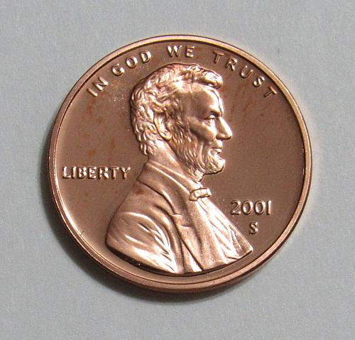 2001-S 1 Cent - Lincoln Memorial Cent (Proof)