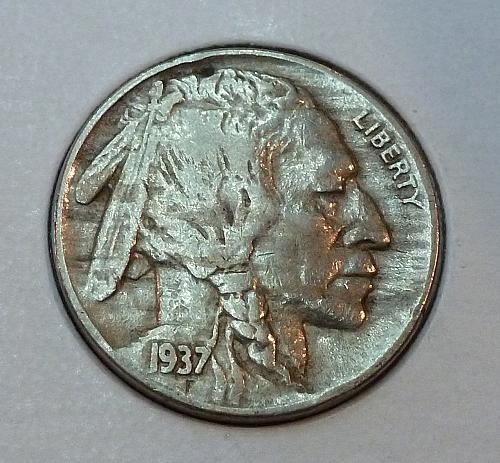 1937-D EXTRA FINE Buffalo Nickel XF Grade ( 4212)