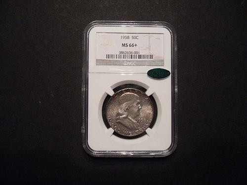 1958 P 50C NGC and CAC MS66+ (Plus) Franklin Half Dollar