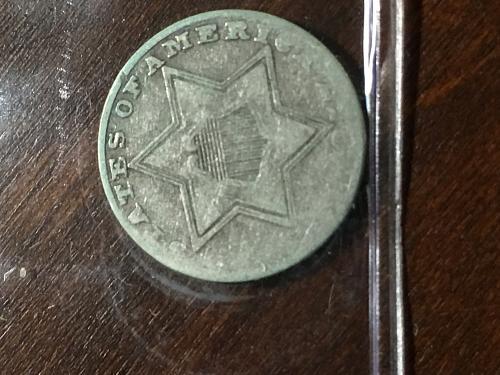 1857 Silver Three Cent Item 0918015