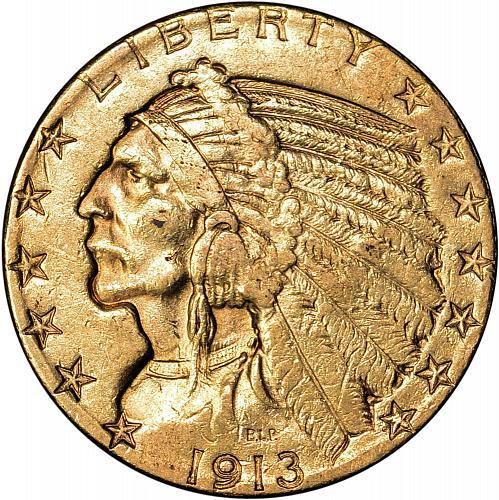 1913-S Gold Indian Half Eagle $5.00 AU - ToughCOINS