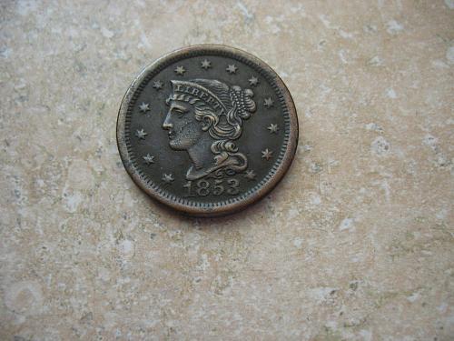 1853 P Braided Hair Large Cent