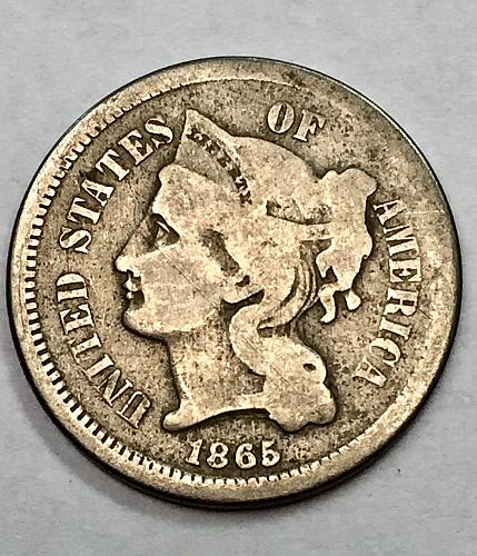 1865 CN Three Cent Piece