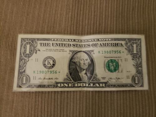 """USA $1 Note """"Star Note"""" K19807956*"""