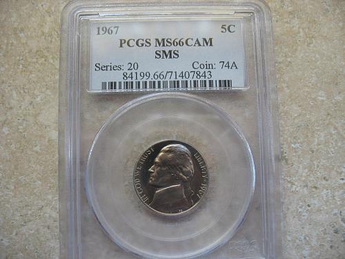 1967 Jefferson Nickel MS 66 Cameo / SMS