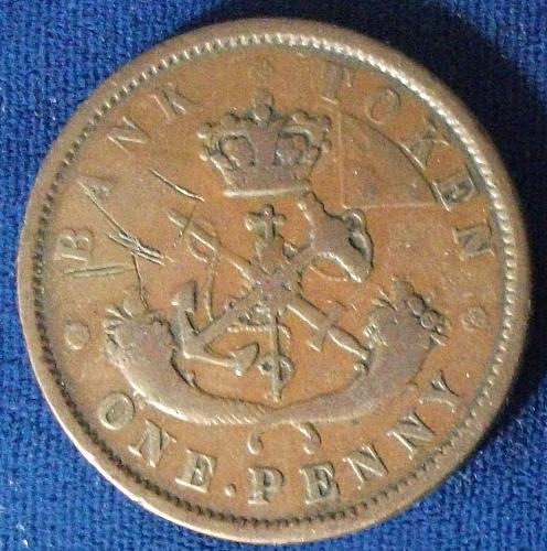 1852 Bank of Upper Canada Penny Token VG