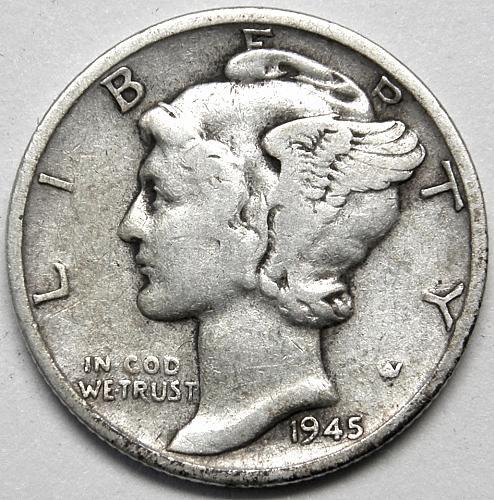 1945 S Mercury Dime #3