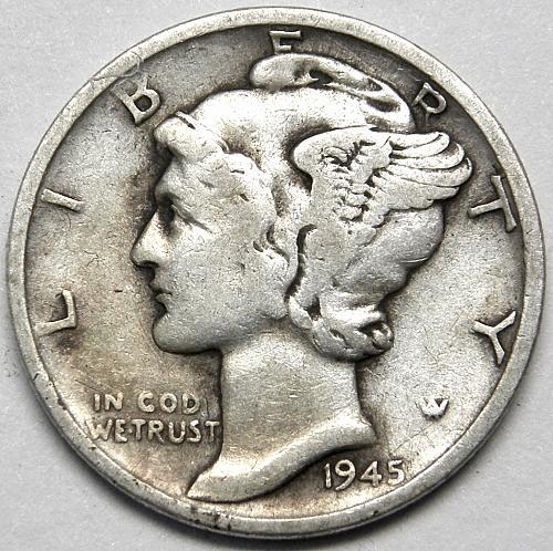 1945 S Mercury Dime #4