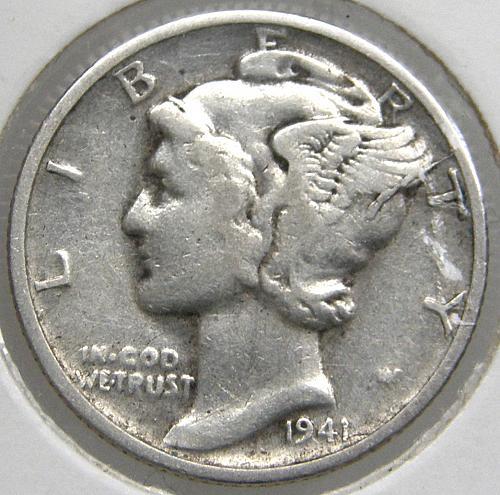 1941 S Mercury Dime #2 Obverse Die Crack Error