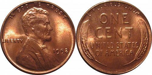 Lincoln Cents 1952  Luster Red BU - Die chip & Die breaks