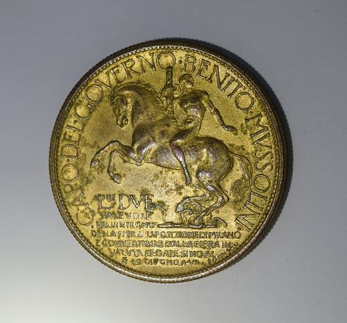 1928 2 Lire/Token - Vittorio Emanuele III - 1928 Exposition in Milan