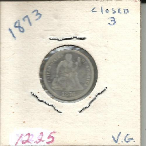 1873 SEATED LIBERTY DIME