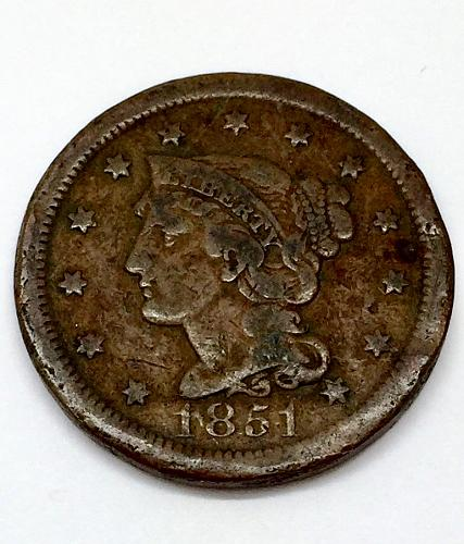 1851 Braided Hair Liberty Head Large Cent - Normal Date