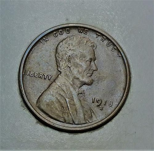 1918-S About Uncirculated Lincoln Wheat Cent  AU ( 1741 )