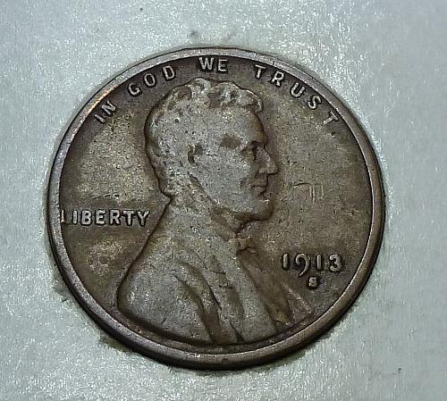 1913-S Fine Lincoln Wheat Cent  F ( 1728)