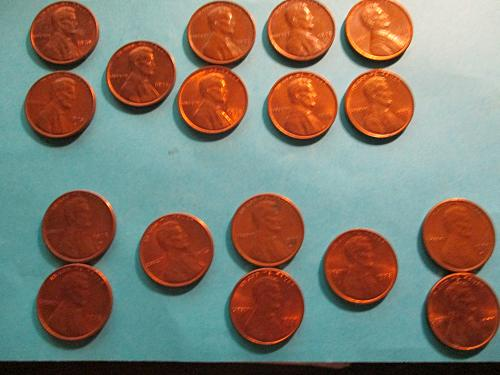 17 US 1970's pennies  (see photos)