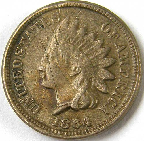 1864 Indian Head Cent #2 Scratched