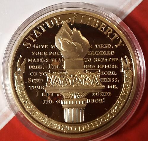 Statue of Liberty Aniversary Commemorative PROOF Coin w/Swarovski -AmerMint COA