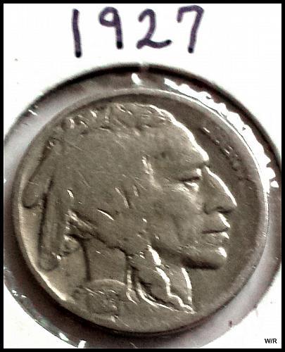 1927 P Buffalo Nickel Indian Head Nickel - Line Type