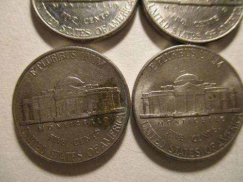 7 AU 1990's Jefferson Nickels