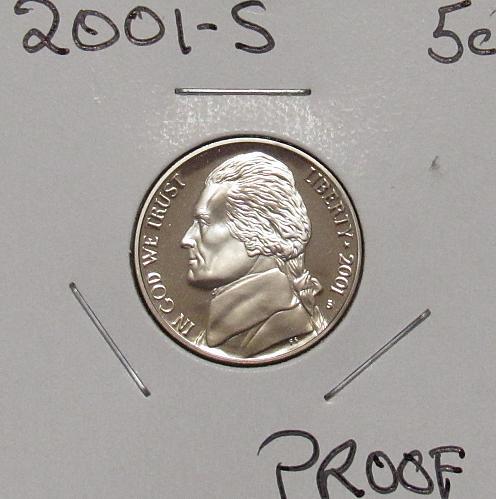 2001 S Proof Jefferson Nickel