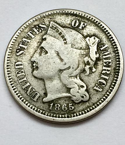 1865 CN 3 Cent Piece