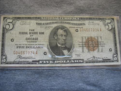 1929 $5.00 National Currency/Bank Note