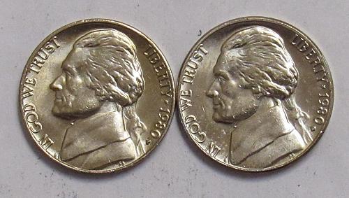 1980 P&D Jefferson Nickels in BU