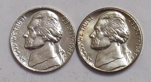 1981 P&D Jefferson Nickels in BU