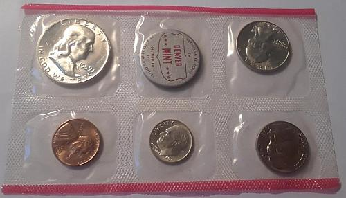 1959 SILVER US MINT DENVER SET OF 5 COINS UNCIRCULATED IN MINT CELLOPHANE