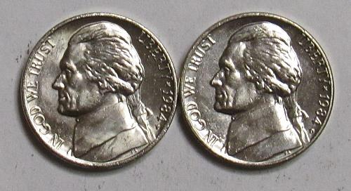 1984 P&D Jefferson Nickels in BU