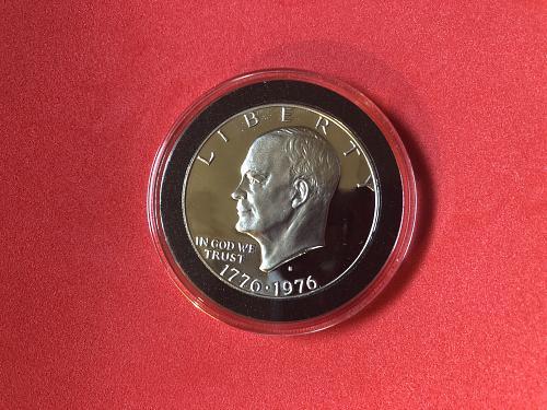 1976 S Proof Bicentennial Eisenhower Ike Silver Dollar BU In Coin Capsule