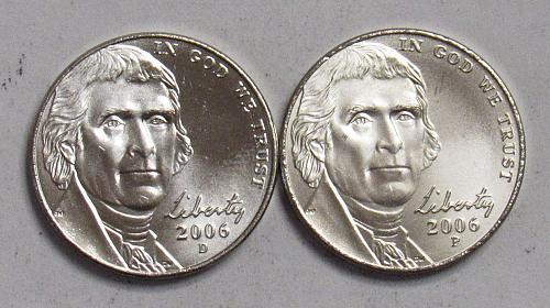 2006 P&D Jefferson Nickels in BU