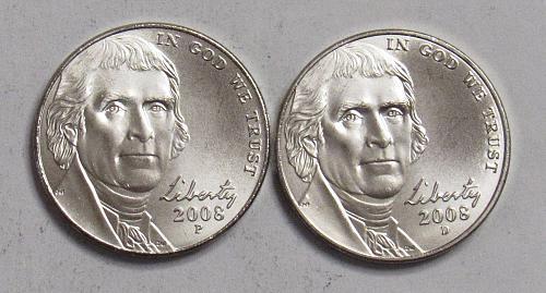 2008 P&D Jefferson Nickels in BU
