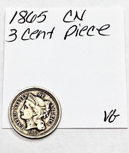 1865 CN Three Cent Piece