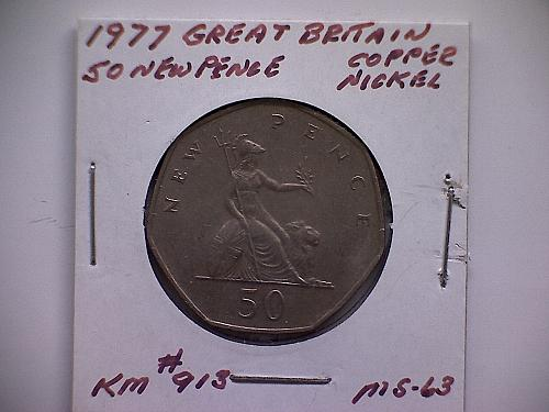 1977 GREAT BRITAIN FIFTY NEW PENCE QUEEN ELIZABETH 11