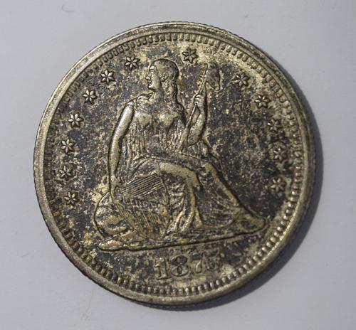 1875 S Seated Liberty Quarter - Toned