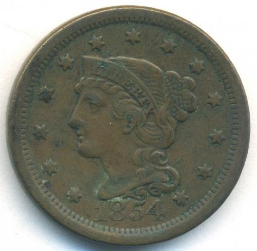 1854 Braided Hair Liberty Head Large Cent