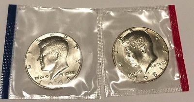 1981 P&D Uncirculated Kennedy Half Dollar Set. In Mint Cello.