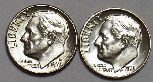 1973 P&D Roosevelt Dimes in BU