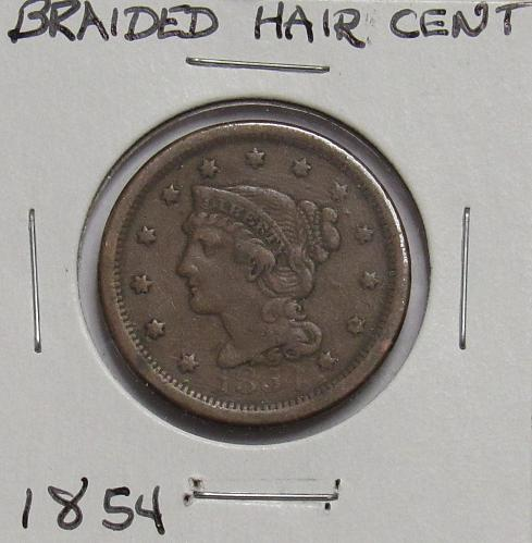 1854 P Braided Hair Liberty Head large Cent