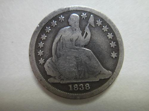 1838 Large Stars Seated Liberty Dime Very Good-8