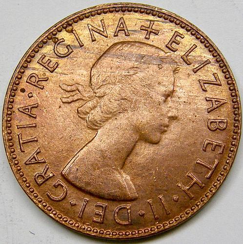 1955 Australia Half Penny#1 with Kangaroo and Prince Edward Uncirculated RB