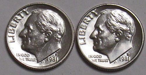 1981 P&D Roosevelt Dimes in BU